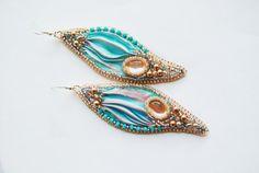 Shibori  Ribbon silk embroidery Earrings with, swarovski pearls, toho beads,Italian leather, made in italy, orecchini серьги