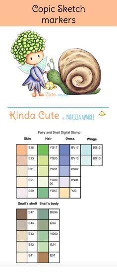 This fairy with a snail digital stamp. Copic combination chart.