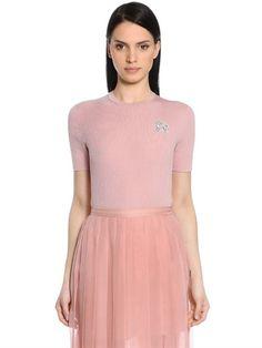 ROCHAS Wool Rib Knit Sweater W/ Beaded Logo, Pink. #rochas #cloth #knitwear