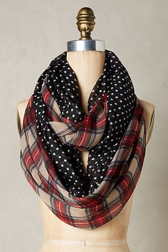 Combining my two favorite patterns. Plaid and polka dots!!! So cute!  Galerne Infinity Scarf #anthropologie