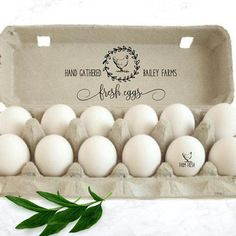 A Personalized Chicken Egg Carton Stamp is a great idea for labeling and personalizing the eggs from your backyard chicken coop, farm or homestead. From mini egg stamps to larger stamps for egg cartons, tags and stickers, rubber stamps are a fun way to customize your coop eggs.