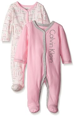 Calvin Klein Baby Girls' 2 Packs Sleep Stretches Pink and Gray * Review more details here : Baby clothes