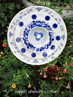 Blue & White Plate flower by Garden Whimsies by Mary