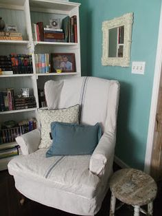 living a cottage life: Tutorial: Drop Cloth Wing Chair Slipcover
