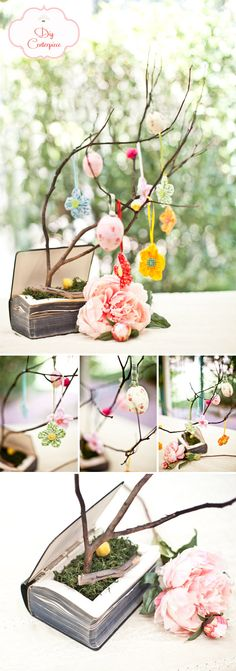 DIY centerpiece - old book, fake moss, tree, ornaments - I can totally see hanging cute pictures and other items that represent the wedding couple