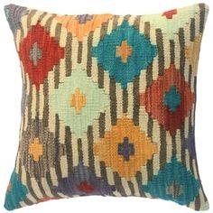"Kilim Petrina Ivory/Brown Wool Throw Pillow Cover(18""x18"")"