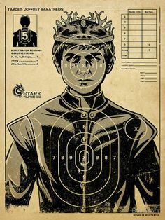 Everybody's favorite underage king, Joffrey Baratheon from Game of Thrones , is subject of a target practice poster, available on RedBubble. Game Of Thrones Joffrey, Arte Game Of Thrones, Game Of Thrones Gifts, Game Of Thrones Party, Game Of Thrones Birthday, Game Of Thrones Food, Game Of Thrones Decor, Game Of Thrones Christmas, Game Of Thrones Halloween