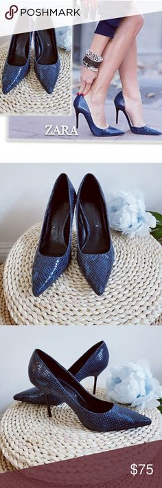 Zara Classic Navy Blue Snakeskin Print Court Shoes Gorgeous brand new classic Python embossed leather heel shoes. Tried on once for picture purpose. It shines without sequins. Elegant and match almost any outfit. A must you should have in your closet. Zara Shoes Heels