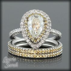 Pear Shaped Moissanite Engagement Ring by LaurieSarahDesigns.