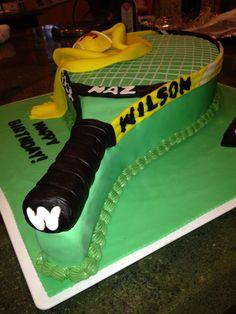 Gotta love a Wilson Tennis Racket cake :) Tennis Cake, Tennis Party, Tennis Gifts, Play Tennis, Fancy Cakes, Cute Cakes, Man Birthday, Birthday Cake, Tennis Players