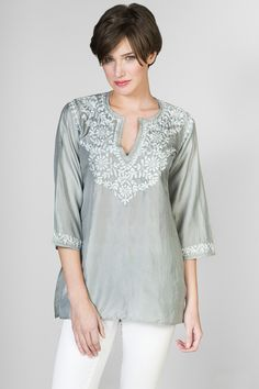 """Silk 31"""" long 3/4 sleeves Hand embroidered"""
