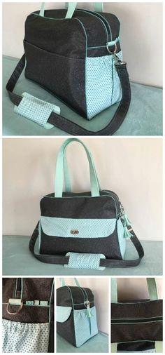 Le sac à langer Boogie cousu par Aurélie, réalisé en simili Swarovski, coton imprimé petites étoiles et passepoil.  Patron sac Boogie : http://sacotin.com/boutique/patron-sac-boogie/