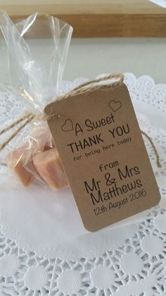 Items Similar To Homemade Vanilla Fudge Wedding Favours With Personalised Tag On Etsy