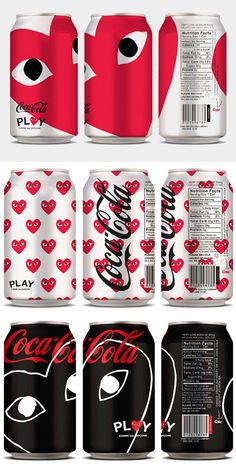 To know more about Coca-Cola x PLAY Comme des Garçons Coca-Cola, visit Sumally, a social network that gathers together all the wanted things in the world! Featuring over 2 other Coca-Cola x PLAY Comme des Garçons items too! Coca Cola Can, Always Coca Cola, Coca Cola Bottles, Coke Cans, Pepsi, Japan Design, Brand Packaging, Packaging Design, Sodas