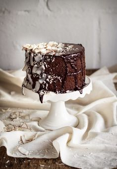 Dark chocolate and coconut ganache cake.