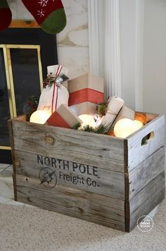 North Pole Freight Crate..very cute...and can be used to help with storage after the holiday.¸.•♥•.  www.pinterest.com/WhoLoves/Christmas  ¸.•♥•.¸¸¸ツ #Christmas