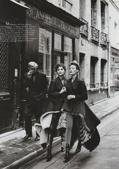 "1991-92 - Helena Christensen in Jean Paul Gaultier coats ""Folies légères"" Vogue Paris, November"
