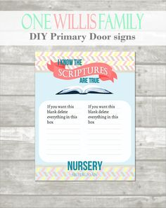 2016 Primary Door signs and assignment cards by OneWillisFamily  sc 1 st  Pinterest & we had these copied and gave them to the Primary kids on their ...