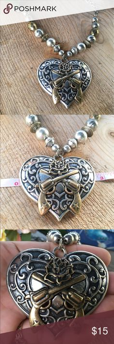 Western guns and roses necklace Gold and silver color. Large pendant Jewelry Necklaces