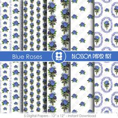 Blue Scrapbook Digital Paper Blue Shabby Chic by blossompaperart
