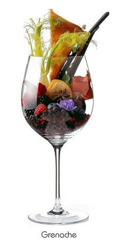 GRENACHE  Black cherry, blackberry, raspberry, blueberry, sandalwood, fennel, rose petals, violets, anise, vanilla bean, black pepper, toast, smoked ham