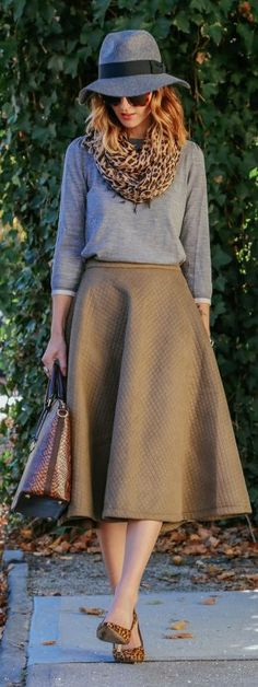 Camel Structured Mid Calf A-skirt