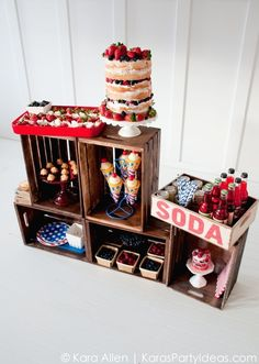 Celebrate America | 4th of July Party | Kara Allen | KarasPartyIdeas.com Summer Treat Stand, Naked Cake, Flag Tray, and more!