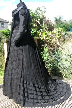 Rare Antique Victorian Black Taffeta Crepe Lace Maternity Mourning Dress 1897 M #Unbranded #Everyday