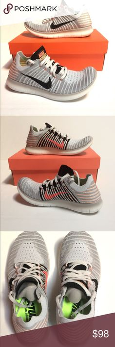 Women's Nike Free Run Flyknit Brand new with box, in Wolf gray, black, and bright mango! Nike Shoes Sneakers