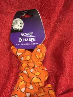 Halloween ORANGE WITH CANDY CORNS Sheer Scarf 62x9 Inch Accessory Apparel #GBI #Scarf
