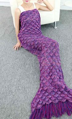 Women Purple Knitted Fish Scales Design Tassels Decor Mermaid Tail Blanket - One Size Crochet Mermaid Tail, Mermaid Tail Blanket, Mermaid Tails, Mermaid Blankets, Loom Knitting, Knitting Patterns, Crochet Patterns, Crochet Ideas, Soft Blankets