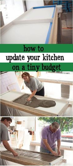 FINALLY! I've been looking for a counters diy to go over my laminate and I think this is it! This kitchen counters diy is cheap and so cute — I never considered a diy countertop with concrete.