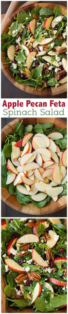 Apple Pecan Feta Spinach Salad with Maple Cider Vinaigrette - this salad is a must try recipe! Highly recommend adding the bacon too. Switch the feta with goat cheese. Vegetarian Recipes, Cooking Recipes, Healthy Recipes, Cooking Tips, Keto Recipes, Pecan Recipes, Cooking Games, Easy Recipes, Healthy Salads