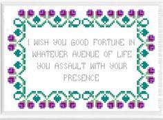 Bernard Black - Black Books Cross Stitch Pattern. I Wish You Good Fortune.... £2.50, via Etsy.