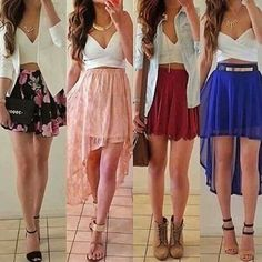 Cute skirts and crop tops Crop Top Outfits, Mode Outfits, Skirt Outfits, Cute Fashion, Teen Fashion, Fashion Outfits, Fashion Skirts, Dress Fashion, Cute Skirts
