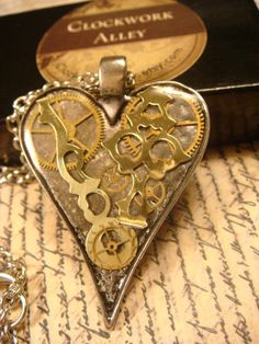 Heart with Gears and Watch Hands Steampunk by ClockworkAlley, $24.00