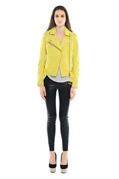 Mackage - HIDI LEATHER JACKET in #yellow, $750 CAD is steep but this is hot!