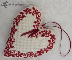 Cross Stitch Decorative Heart by GraceAndWhimsy on Etsy Cross Stitching, Cross Stitch Embroidery, Hand Embroidery, Cross Stitch Patterns, Cross Stitch Christmas Ornaments, Christmas Cross, Santa Cross Stitch, Hanging Hearts, Silk Ribbon
