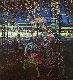 "Wassily Kandinsky. Couple Riding, 1906 Oil on canvas 21.7 × 19.9"" (55.0 × 50.5 cm) Munich, Germany. Lenbachhaus Gallery"