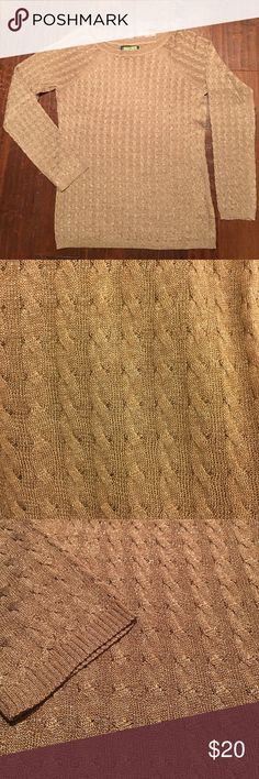 Sweater w/Gold thread to make it sparkle✨ Light weight Jones of New York sweater, perfect for New Years!  Only wore 1 time.  Says hand wash, but I had it dry cleaned - looks brand new! Jones New York Sweaters Crew & Scoop Necks