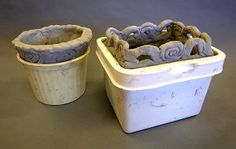 Build coil pots inside of plastic containers; when the clay dries it shrinks and the form easily slips out.