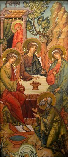 abraham ibrahim as 3 melek Religious Pictures, Religious Icons, Religious Art, Religion Catolica, Christian Artwork, Religious Paintings, Russian Icons, Byzantine Icons, Catholic Art