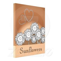 Sunflowers and diamond hearts graphic art design gallery wrap canvas