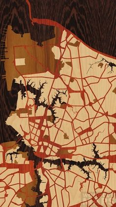 """Really cool design of #virgiinia. We haven't seen this composition before! 9""""x16"""" Woodcut Map of Norfolk, Va Circa 2013 via @Woodcut Maps"""