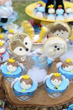 Love these cupcakes and cookies at a Little Prince birthday party! See more party ideas at CatchMyParty.com!
