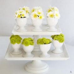 postcards and pretties: {friday faves} eggcup centerpieces