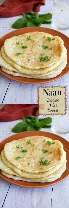 Naan/ Indian Flat Bread - My list of the best food recipes Indian Bread Recipes, Recipes With Naan Bread, Flatbread Recipes, Flat Bread Recipe Easy, Easy Bread, Tostadas, Tacos, Tamales, Kitchen Recipes