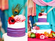 I think there is such beauty in the vibrancy of traditional Indian weddings, and this cake does such a gorgeous job of celebrating a multi-cultrural wedding.  The combination of traditional stacked cake with the colorful and textural elements of the fabrics and peacock feathers makes this simply stunning!