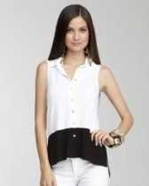 bebe Button Front Colorblock Tank