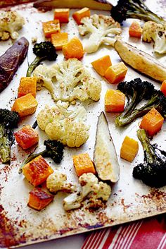 how to roast vegetables~  A list to roast: corn carrots potatoes parsnips cauliflower beets brussle sprouts sweet potatoes mushrooms turnips cabbage asparagus green beans onions (sweet, red, green) bell peppers fennel leeks zucchini squash tomatoes eggplant broccoli